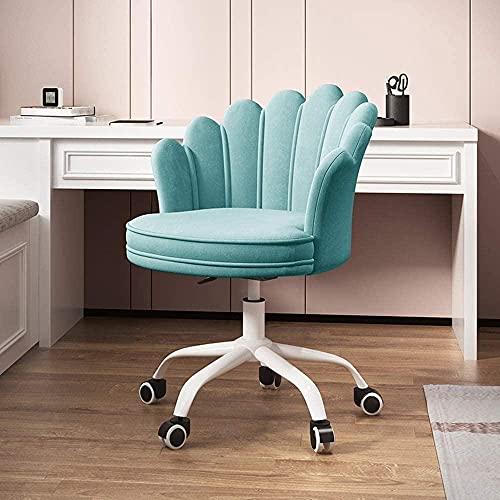 Silla de escritorio de oficina para el hogar Silla de tarea giratoria de terciopelo ajustable de terciopelo con brazo y rotación de la polea de PU de rotación de 360 ° respaldo ergonómico-Azul