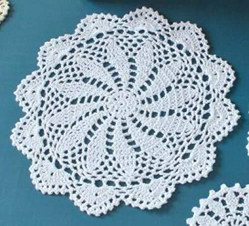 NIKIMI Encaje Crochet Tapete Redondo Algodón Mantel Taza Posavasos Taza Cena Cocina Mesa de Centro Mantel Tetera Cojín de Navidad