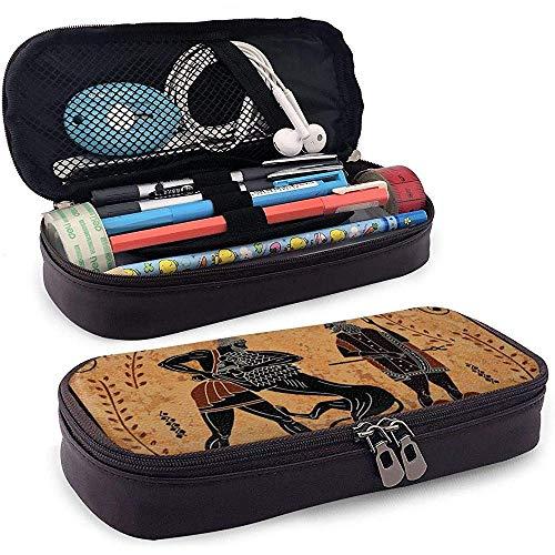 Alte Mythos Sceenblack Abbildung Keramik Pu Leder Federmäppchen Tasche mit Reißverschluss niedlichen Stift Federmäppchen Box Briefpapier Box