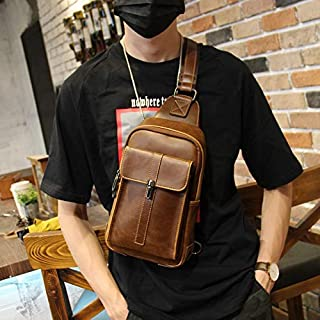 Leather Bag Mens Men's Chest Bag Single Shoulder Messenger Bag High Capacity (Color : Coffee, Size : S)