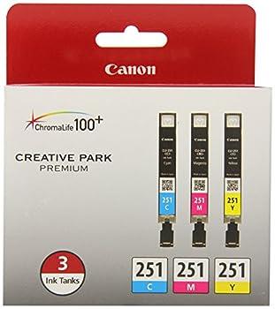 Canon CLI-251 3 Color Multi Pack Compatible to MG6320 iP7220 & MG5420 MX922 MG7120 MG6420 MG5520 iX6820 iP8720 MG7520 MG6620 MG5620