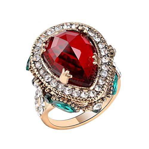 EzzySo Anillo con Gemas y Diamantes, Americana, Retro, Europea, clásica, Anillo de aleación (2 Piezas),Rojo,10