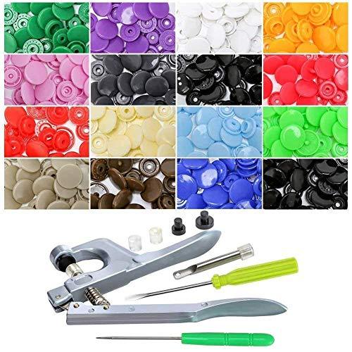 MiaZhou Juego de 150 broches de presión de plástico con alicates, kit de herramientas, en 15 colores distintos, T5