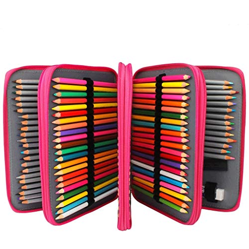 Funda de lápices de 200 ranuras, bolsa de lápiz de cuero de PU, bolsa de lápiz de gran capacidad, bolsa de papelería de estudiante, bolsa de almacenamiento de pintura artística, con cremallera, utiliz