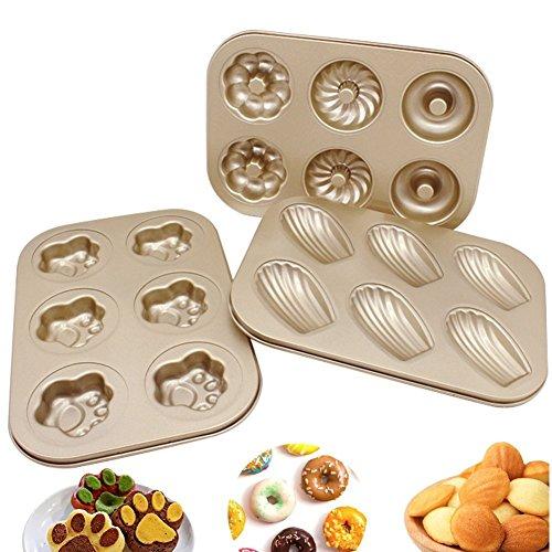 Upintek Nonstick 6-Cavity Mini Donut Pan, Carbon Steel Multi-shape Cake Baking Pan, Madeleine Pan, Paw Print Pan for Mini Cake Making (3Packs)