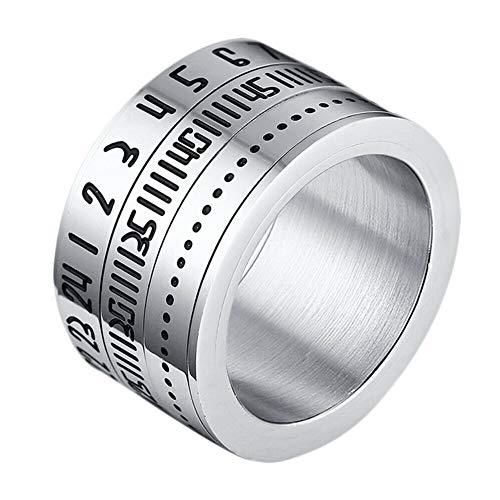 Huaji Anillo giratorio de acero titanio números arábigos calendario reloj anillo hombres anillo joyería