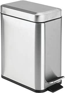 mDesign 1.3 Gallon Rectangular Metal Step Trash Can Wastebasket, Garbage Container Bin, Bathroom, Powder Room, Bedroom, Kitchen, Craft Room, Office - Removable Liner Bucket, Brushed Stainless Steel