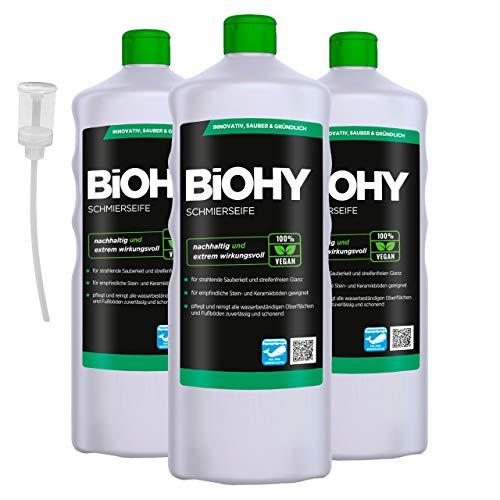 BiOHY Schmierseife (3x1l Flasche) + Dosierer | Fußbodenreiniger KONZENTRAT | Natürliche Inhaltsstoffe | anwendbar auf allen empfindlichen Oberflächen | Kautschuk, Linoleum, Parkett, PVC, Stein