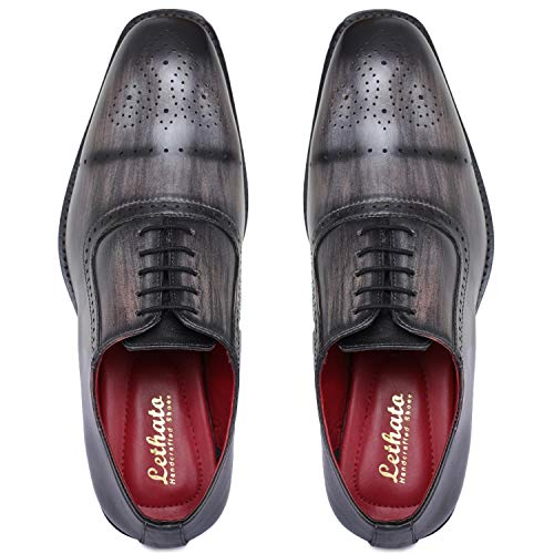 Lethato Brogue Oxford Handcrafted Men's Genuine Leather Lace up Dress Shoes with Golden Color Metal Aglets Shoelace Tips- Gray