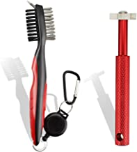 SportsGenics Set of 2 Golf Brushes with a Golf Club Groove Sharpener - Double Sided Golf Brushes for Cleaning – 6 Head Gol...