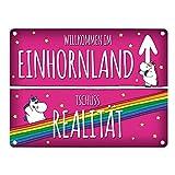 Honeycorns Metallschild mit Einhorn Stadtschild Motiv und Spruch: Willkommen im Einhornland...