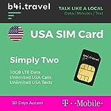 Carta Sim Prepagata USA - 10GB in 4G LTE - Chiamate e messaggi illimitate - 30 Giorni