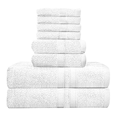 Talvania Bath Towel Set - Luxury Hotel Bath Towels 100% Ring Spun Cotton 8 Piece Towel Set; 2 Bath Towels, 2 Hand Towels and 4 Washcloths Perfect for Bathrooms, Guest Room, Spa or Hotels (White)