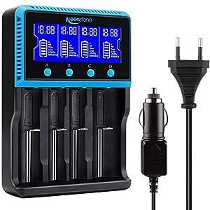 Keenstone 18650 Cargador Batería Universal, Cargador Pilas AA y AAA con Pantalla LCD para Baterías Recargables Ni-MH Ni-CD LiFePO4 Li-Ion CR123A 10440 14500 16340 26650 21700 (4 Ranuras)