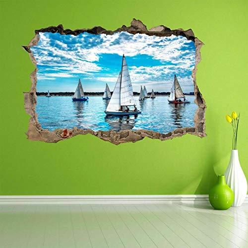 Yates de vela Barcos Cielo azul Nubes 3D Etiqueta de la pared Mural Calcomanía Decoración para el hogar- HABITACIÓN Dormitorio Cocina-50x70cm
