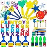 53Pcs Paint Sponges for Kids, Sponge Painting Brushes Kids Painting Kits - Paint Sponge Kids Early Learning Sponge Paint Brushes with 26 Alphabets
