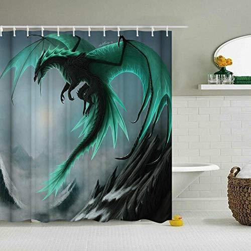 kuanmais Niedlicher Duschvorhang mit Drachen-Motiv, wasserdicht, extra lang, für Badezimmer mit 12 Haken Maße: 180 x 180 cm