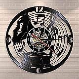 SXLCKJ Reloj de Pared clásico Vintage con gramófono Antiguo, Estudio de partituras,...