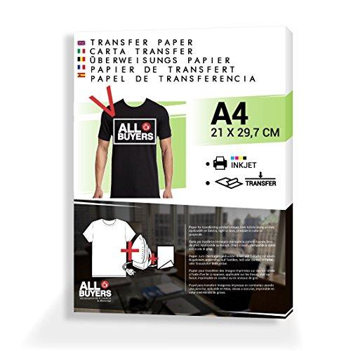 2AINTIMO transferpapier voor T-shirt-print. A4. Overdracht van de afbeelding door middel van strijkijzer, 10 vellen A4 voor T-shirts Maglie Scure