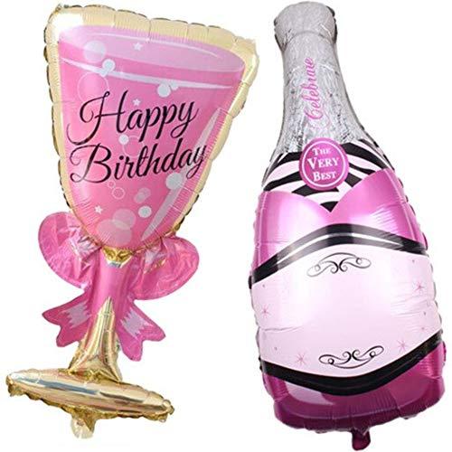DIWULI, 2 Stück Geburtstags Luftballon Happy Birthday, Sektglas + Sektflasche, Folien-Luftballon, Geburtstagsballon, Folien-Ballon lustig für Geburtstag, Party, Dekoration, Geschenk-Deko, Very Best
