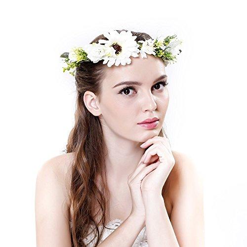 Aeromdale Stirnband mit Gänseblümchen, mit verstellbarem Band, für Hochzeiten, Festivals, Blau weiß