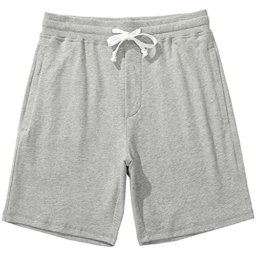 Duuluup Mens Workout Shorts Zip Pockets Gym Shorts Cotton Elastic Waistband for Casual Athletic Running