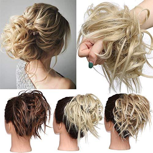 TESS Haarteil Dutt Haargummi mit Haaren Glatt struppige Haarknoten Hochsteckfrisuren günstig Haarverlängerung für Frauen 45g Mittelblond/Blond