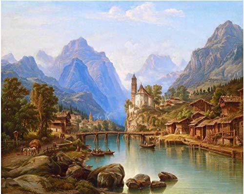 Gmunden Township fotolijst met getallenschilderij, wanddecoratie, om zelf te maken op canvas, decoratie voor de slaapkamer, als uniek cadeau
