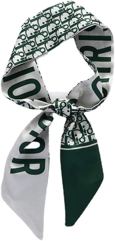 Fashion Design Handle Bag Long Hair Tie Headband Neck Polyester Twill Ribbon Decorative Scarf Green for Summer