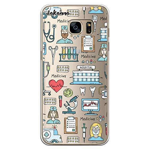 dakanna Custodia per [Samsung Galaxy S7 Edge] Ospedale Cuore Ambulanza Medici Simboli, Cover in Gel di Silicone TPU Morbido di Alta qualità con [Sfondo Trasparente]