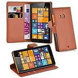 Cadorabo Hülle für Nokia Lumia 535 - Hülle in Schoko BRAUN – Handyhülle mit Kartenfach & Standfunktion - Hülle Cover Schutzhülle Etui Tasche Book Klapp Style