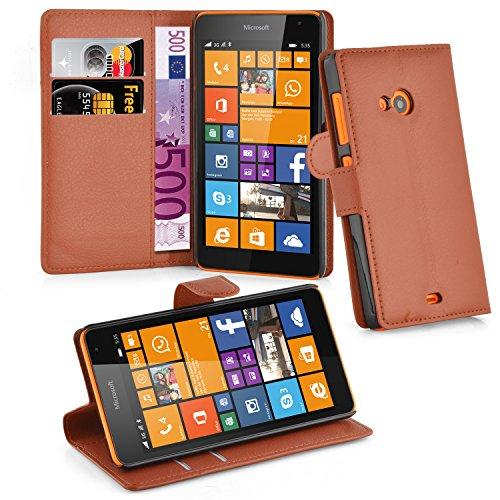 Cadorabo Hülle für Nokia Lumia 535 in Schoko BRAUN - Handyhülle mit Magnetverschluss, Standfunktion & Kartenfach - Hülle Cover Schutzhülle Etui Tasche Book Klapp Style
