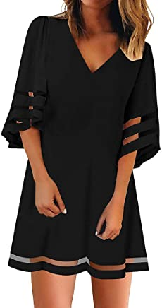 RTYou Dress for Women Linen Solid Bohemian Dress Casual Loose 3//4 Sleeve Button Turn Down Collar Tunic Top Dress Pocket