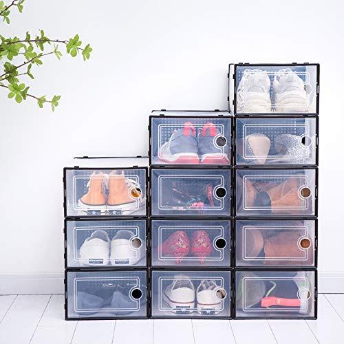 Paquete de 12 cajas de zapatos de plástico transparente apilables, cajas de almacenamiento, 33 x 23 x 14 cm, organizador de zapatos con tapas, contenedores de soporte para zapatos de apertura frontal