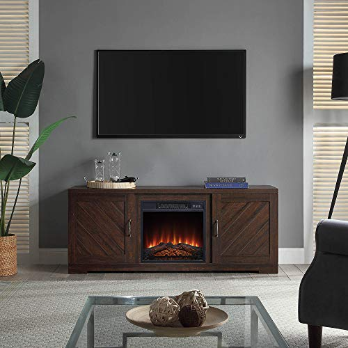 BELLEZE Hilo 58 Inch Fireplace TV Stand Console with Remote Control for TVs Up to 65