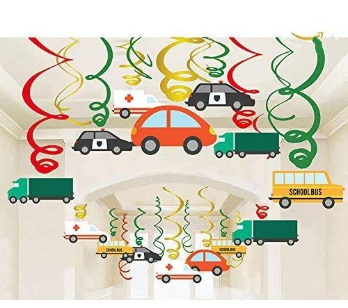 packingmaster 30Ct Colorful Transportations Cars Trucks Buses Hanging Swirl Home Decorations for Transportation Themed Birthday Party Supplies