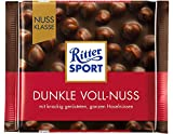 Ritter Sport Dark Whole Hazelnuts Chocolate Bar Candy Original German Chocolate 100g/3.52oz