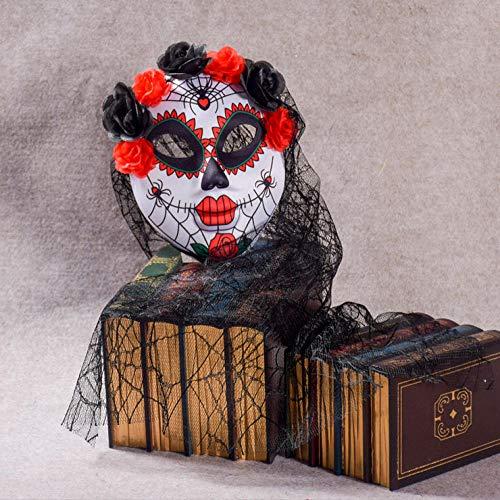 RYUANYUAN Schädel Halloween mit Blumen Horror Clown Maske Maskerade Männer und Frauen volles Gesicht