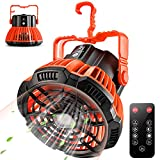 FCXJTU Camping Fan with LED Lights, Portable Tent Fan with Hanging Hook Remote...