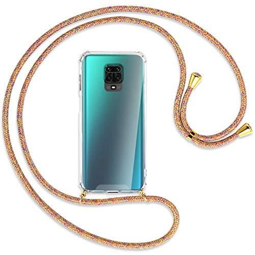mtb more energy® Collar Smartphone para Xiaomi Redmi Note 9s, Note 9 Pro (6.67'') - Rainbow/Oro - Funda Protectora ponible - Carcasa Anti Shock con Correa para Hombro