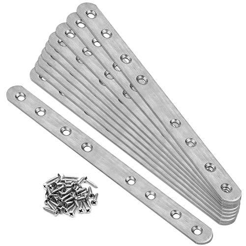 MOUNTAIN_ARK 10 Stück 201 Edelstahl Lochplatte - Flachverbinder 295x18,5x2,7mm Metallverbinder Holzverbinder mit 80 Schrauben Halterung Reparaturplatte für Schrank Tisch Stuhl, Oberfläche gebürstet