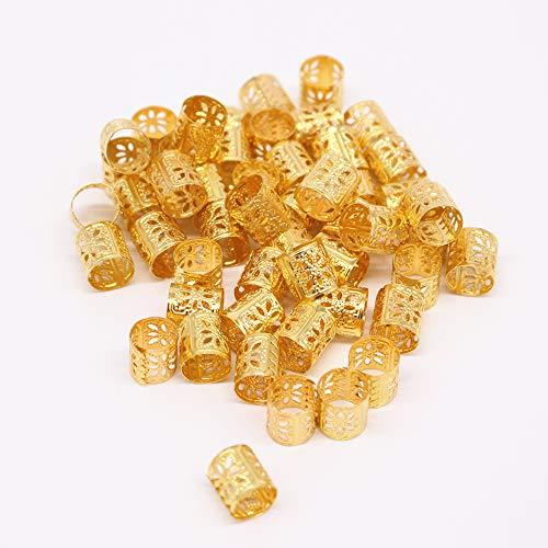 50 Stück Aluminium Dreadlocks Perlen Metall Haar Dekoration DIY Stil Flechten Haarschmuck Braid Ringe (Gold)