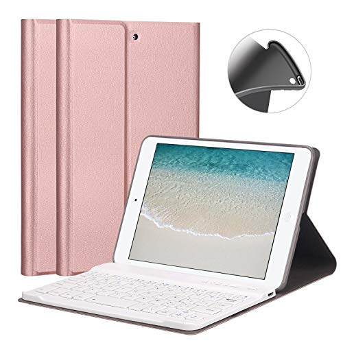 """GOOJODOQ Funda de Teclado para iPad Mini 1/2/3 7.9""""[Actualización] Cubierta de Soporte de TPU Suave con Teclado Bluetooth Desmontable magnéticamente para Apple iPad Mini 1 / Mini 2 / Mini 3"""