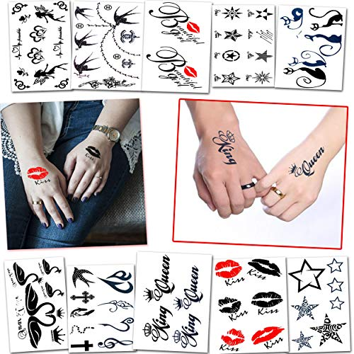 60+ Fun Temporary Tattoos for Women and Adults - Great for Bachelorette Party, Adult Party and Bridal Shower - For Adults and Teens Tattoos for Arms Legs Shoulder or Back