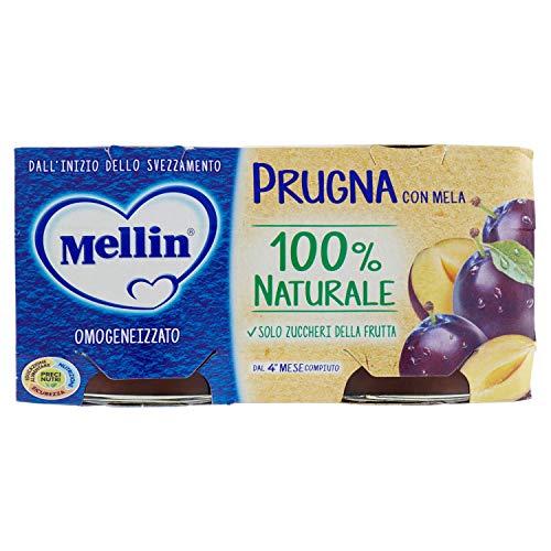 Mellin Omogeneizzato Di Frutta Prugna con Mela 100% Naturale – 24 Vasetti da 100 gr