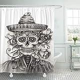 JOOCAR Cortina de ducha de diseño, diseño de calavera de tatuaje a mano en esqueleto Catrina México Festival Halloween Vintage, tela impermeable decoración de baño Set con ganchos