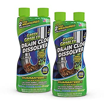 Green Gobbler Liquid Hair & Grease Clog Remover   Drain Opener   Drain cleaner   Toilet Clog Remover - 2 Pack