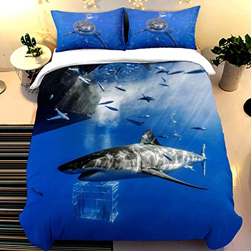 Shark Style 3D Digital Print Bedding Sets with 2 Pillowcases Ocean of Fish Creative Cartoon Shark Print Duvet Cover Sets Soft Microfiber 3Pcs Quilt Cover with Zipper Closure 200 x 200 cm