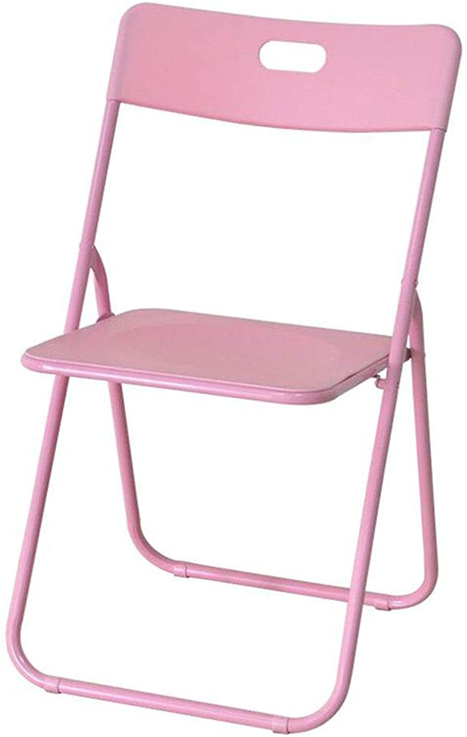 Portable Folding Chair Plastic Household Simple Office Meeting Computer Training Chair with Backrest(46  46  79cm) (color   Pink)