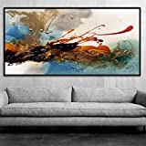 KMAOMAOYHYH Hand Painted Oil Painting On Canvas,Abstract Splash-Ink Glamor Pattern Design Poster Pictures Modern Wall Art Minimalist for Home Corridor Living Room Bedroom Decor 44X88Inch No Frame
